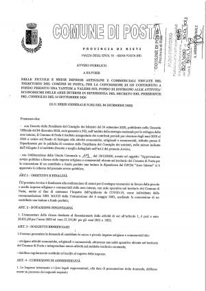 Avviso pubblico a favore delle piccole e medie imprese del Comune di Posta